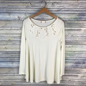 Altar'd State Cream Off White Lace Neck Swing Top